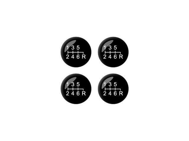 6 Speed Shift Knob - Wheel Center Cap 3D Domed Set of 4 Stickers Badges