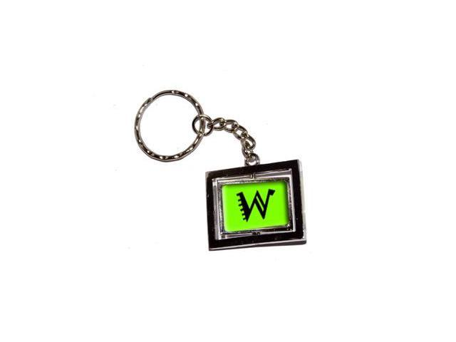 Letter W Initial - Lime Green Keychain Key Chain Ring