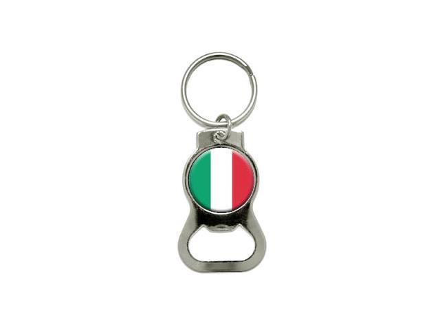 Italy Italian Flag - Bottle Cap Opener Keychain Ring