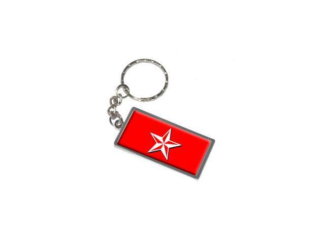 Nautical Star Red Keychain Key Chain Ring