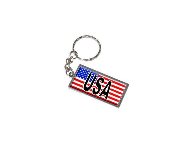 USA with Flag Keychain Key Chain Ring