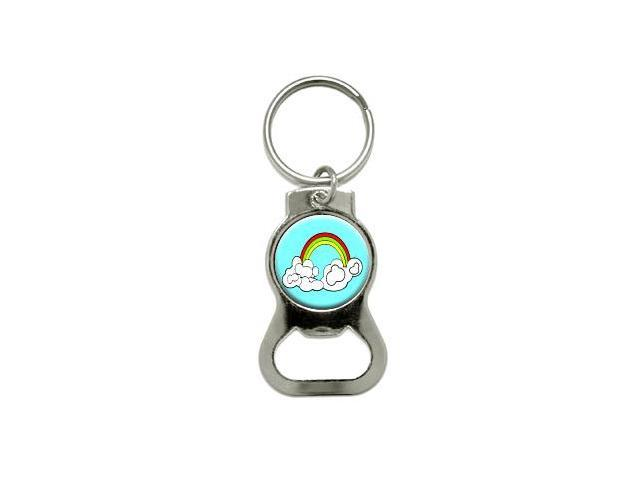 Rainbow In Clouds - Bottle Cap Opener Keychain Ring