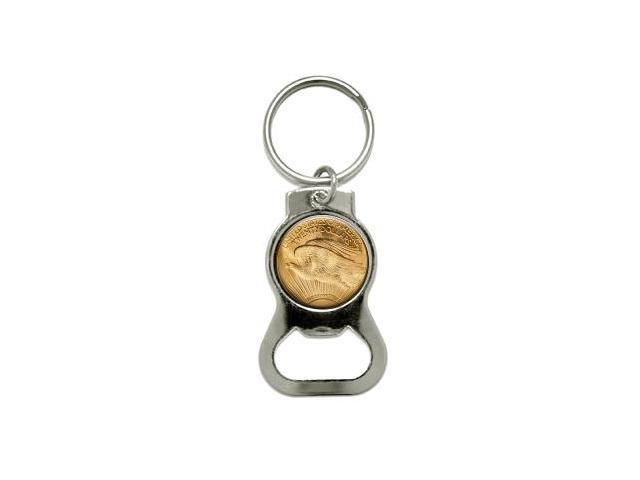 US 20 Dollar Gold Coin - Bottle Cap Opener Keychain Ring