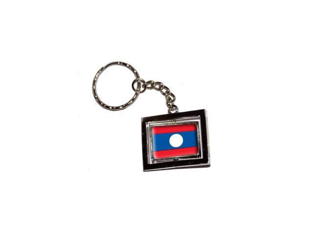 Laos Country Flag Keychain Key Chain Ring