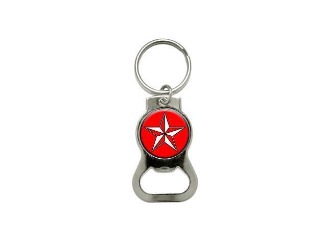 Nautical Star - Red - Bottle Cap Opener Keychain Ring