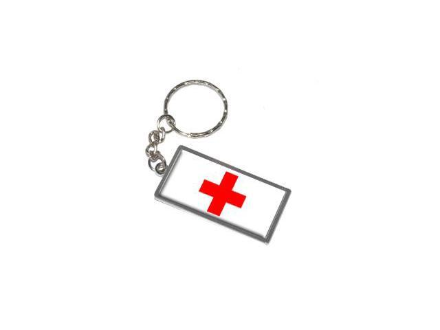 Red Cross Keychain Key Chain Ring