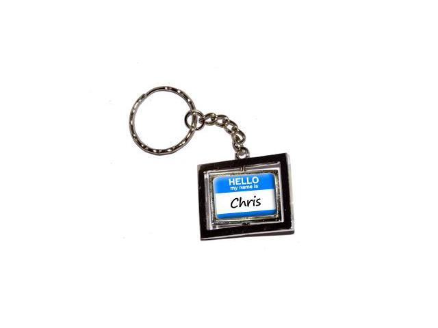 Hello My Name Is Chris Keychain Key Chain Ring