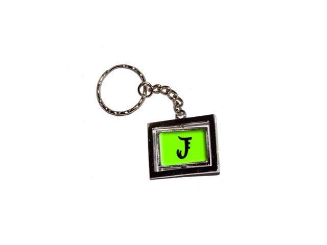 Letter J Initial - Lime Green Keychain Key Chain Ring