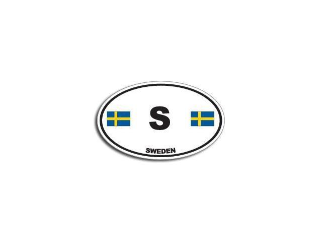 S SWEDEN Country Oval Flag Sticker - 5.5