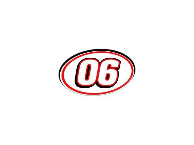 06 Racing Number - Red Black Sticker - 5.5