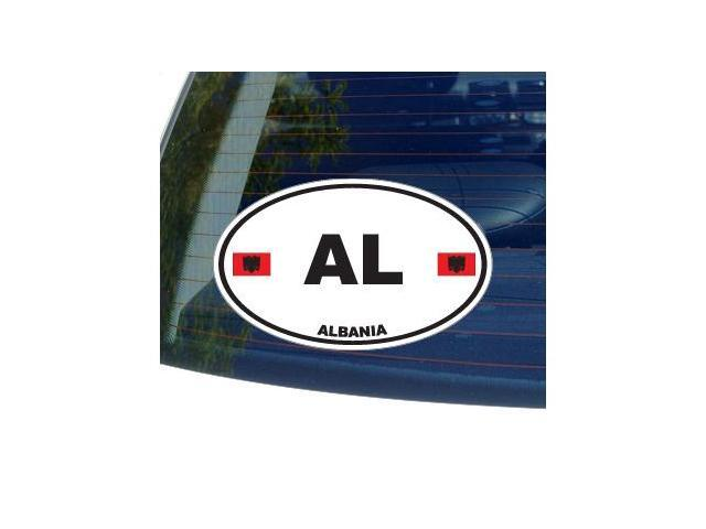 AL Albania Country Oval Flag Sticker - 5.5