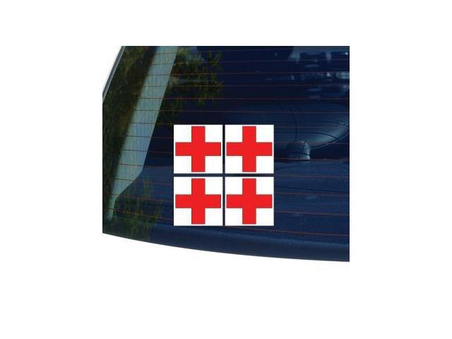 RED CROSS ON WHITE BACKGROUND 4 Stickers - 2.7