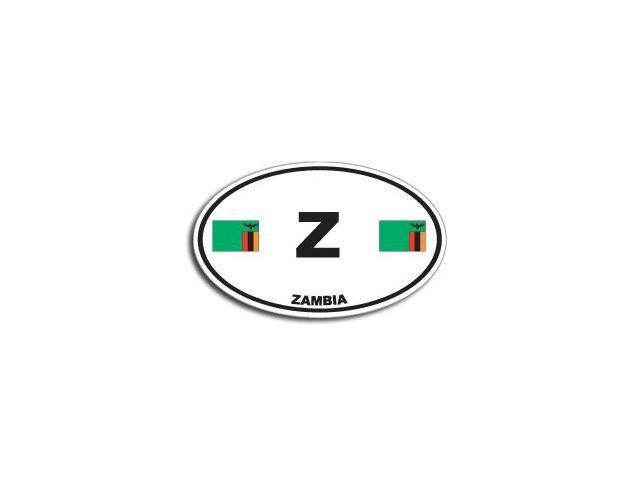 ZAMBIA Country Oval Flag Sticker - 5.5