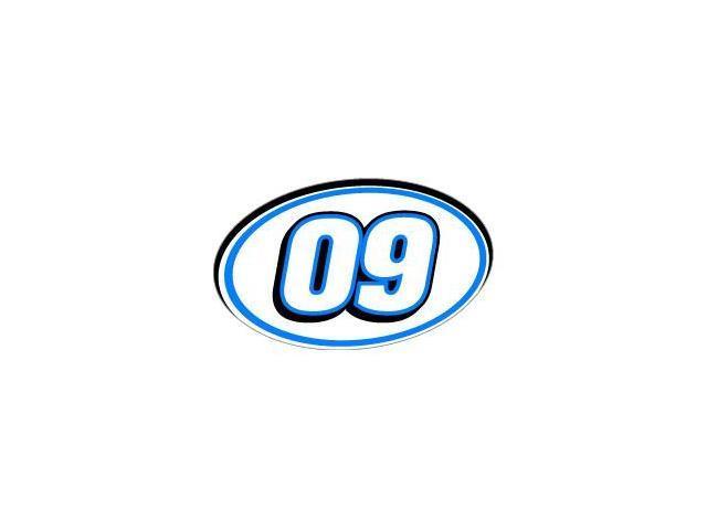 "09 Number Racing - Blue Black Sticker - 5.5"" (width) X 3.5"" (height)"