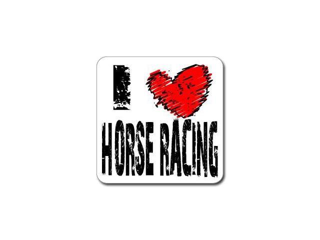I Love Heart HORSE RACING Sticker - 5