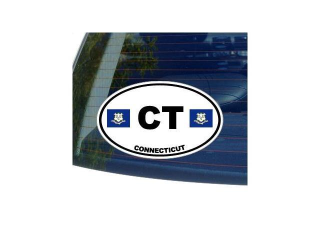 CT CONNECTICUT State Oval Flag Sticker - 5.5