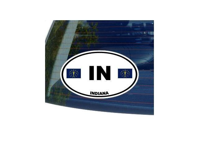 IN INDIANA State Oval Flag Sticker - 5.5