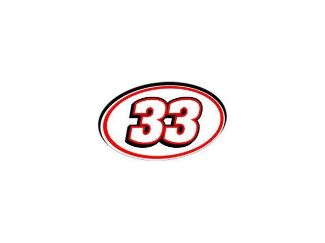 33 Racing Number - Red Black Sticker - 5.5