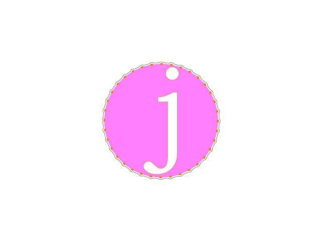 Letter Initial J - Pink Orange Sticker - 4.5