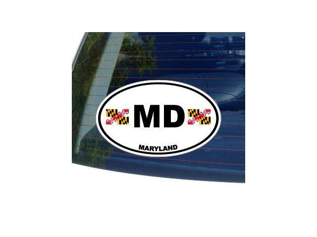 MD MARYLAND State Oval Flag Sticker - 5.5