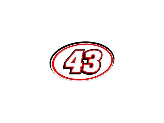 43 Racing Number - Red Black Sticker - 5.5