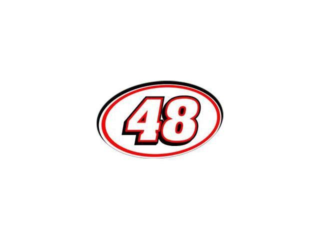 48 Racing Number - Red Black Sticker - 5.5