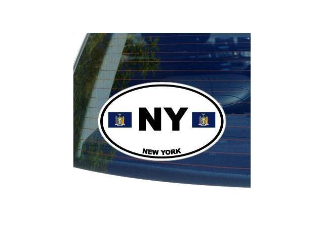 NY NEW YORK State Oval Flag Sticker - 5.5