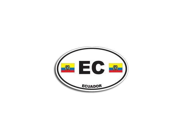 EC ECUADOR Country Oval Flag Sticker - 5.5