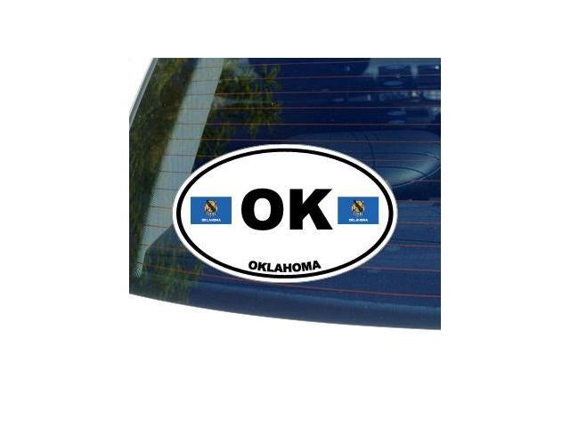 OK OKLAHOMA State Oval Flag Sticker - 5.5