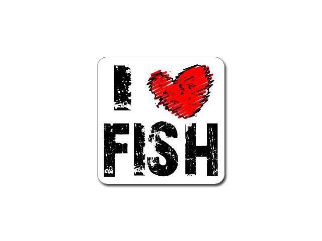 I Love Heart FISH Sticker - 5