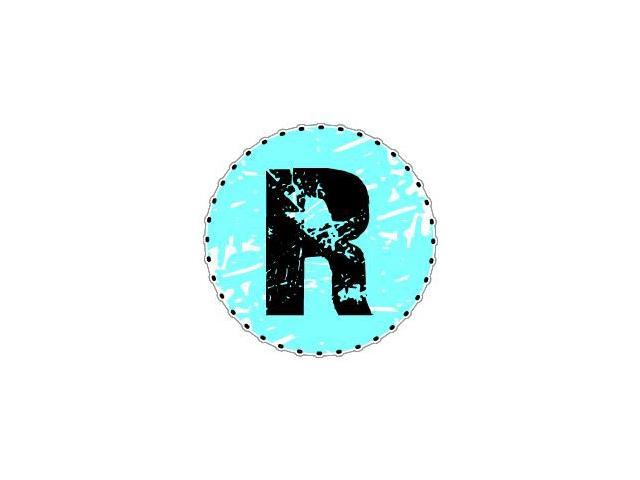 Letter Initial R - Blue Sticker - 4.5