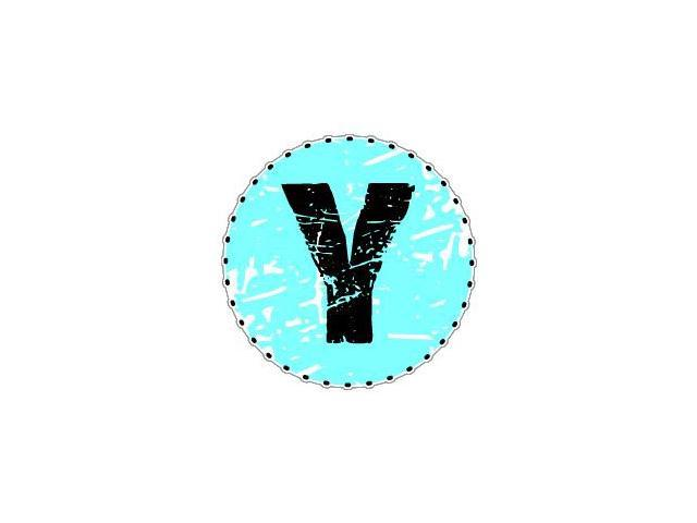Letter Initial Y - Blue Sticker - 4.5