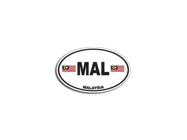 MAL MALAYSIA Country Oval Flag Sticker - 5.5