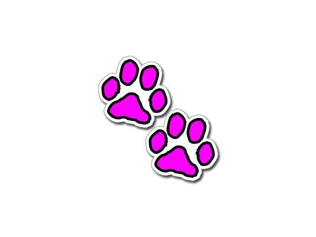 Paw Prints - Hot Pink and Black Stickers - 3