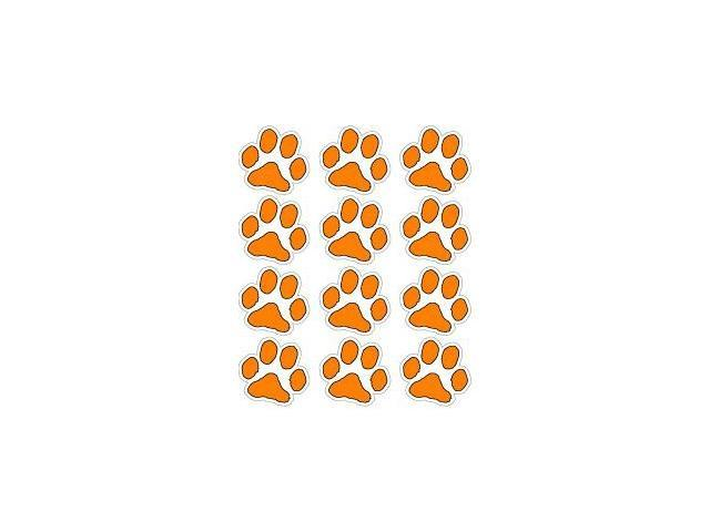 Small ORANGE Paw Prints Sheet of 12 - Opaque Stickers - 1.5