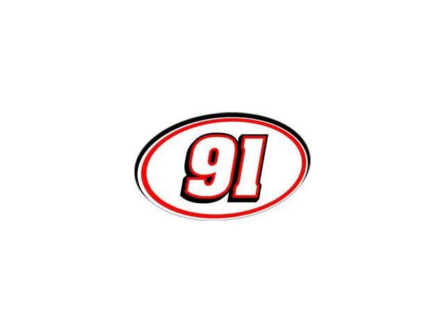 91 Racing Number - Red Black Sticker - 5.5