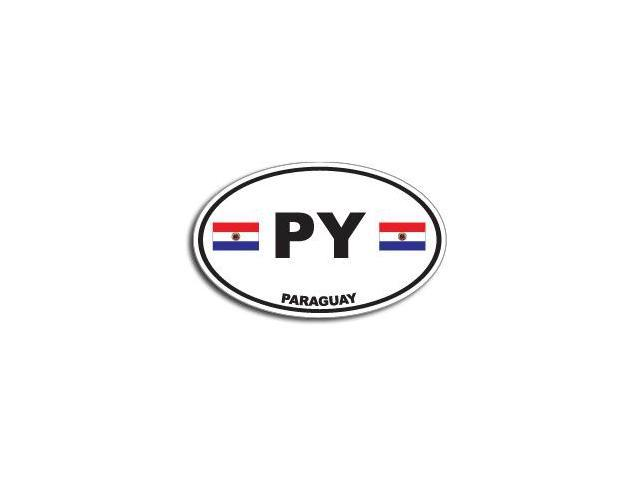 PY PARAGUAY Country Oval Flag Sticker - 5.5