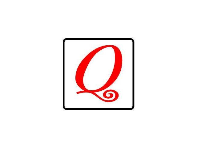 Letter Initial Q - Red Black Sticker - 4.5