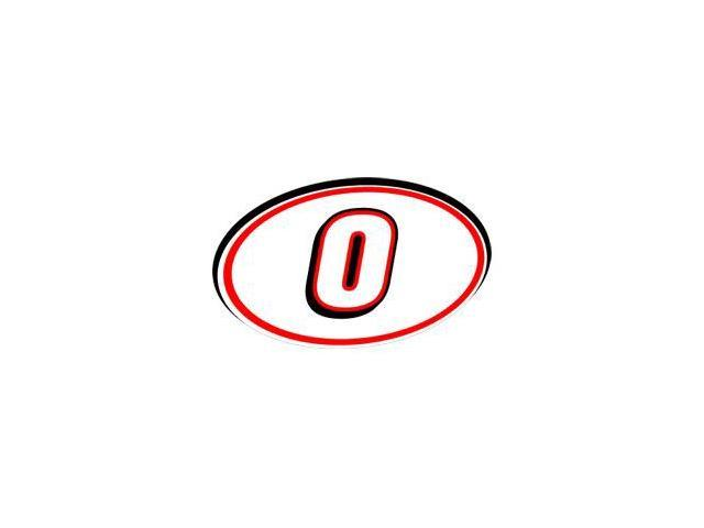0 Racing Number - Red Black Sticker - 5.5