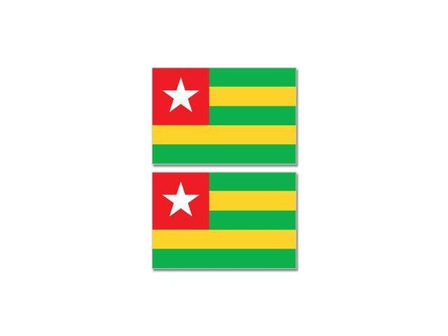 Togo Country Flag - Sheet of 2 Stickers - 4