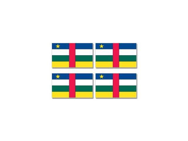 Central African Republic Country Flag - Sheet of 4 Stickers - 3