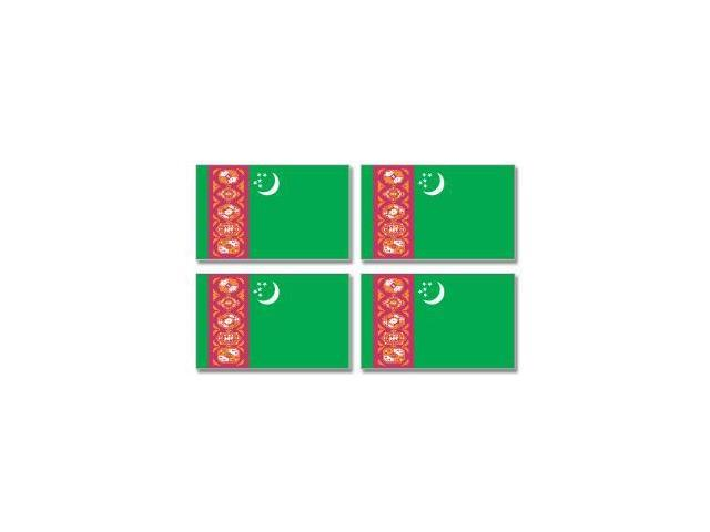 Turkmenistan Country Flag - Sheet of 4 Stickers - 3