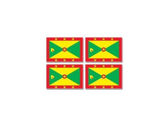 Grenada Country Flag - Sheet of 4 Stickers - 3