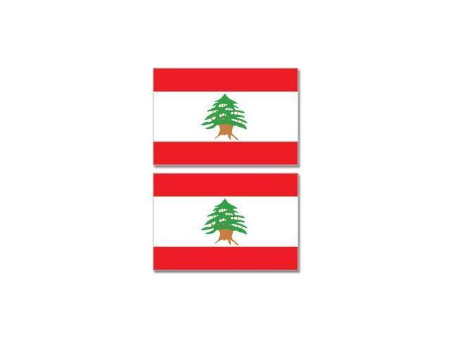 Lebanon Country Flag - Sheet of 2 Stickers - 4