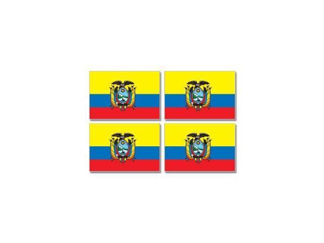 "Ecuador Country Flag - Sheet of 4 Stickers - 3"" (width) each"