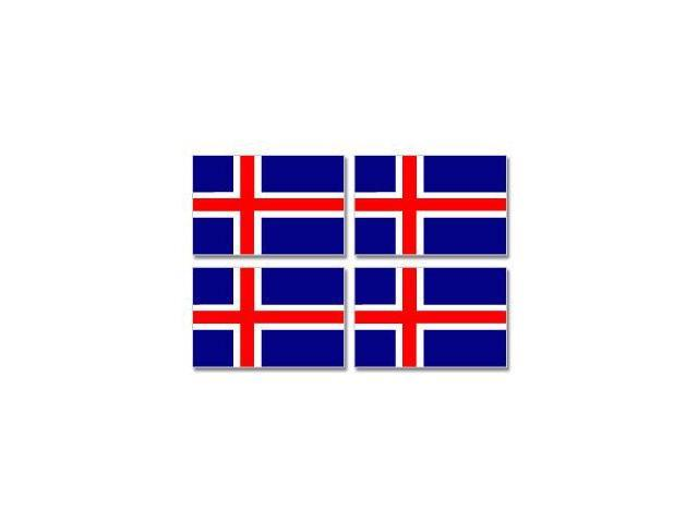 Iceland Country Flag - Sheet of 4 Stickers - 3