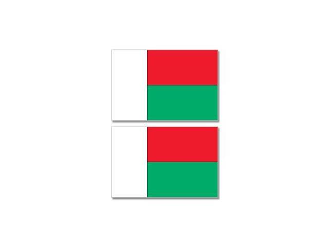 Madagascar Country Flag - Sheet of 2 Stickers - 4