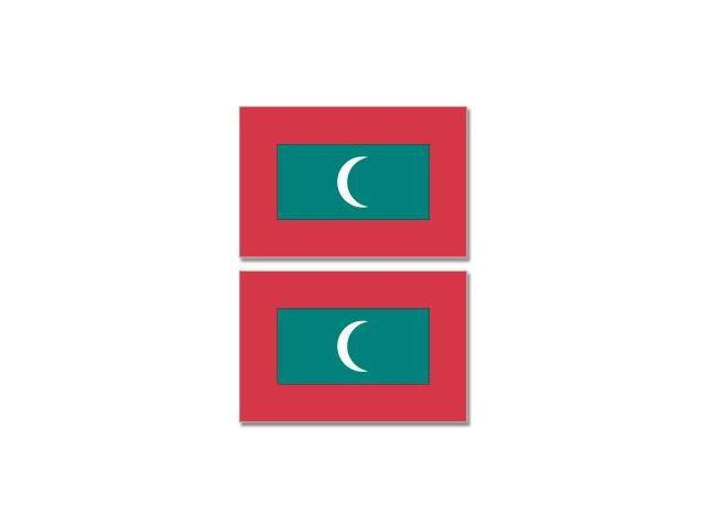Maldives Country Flag - Sheet of 2 Stickers - 4