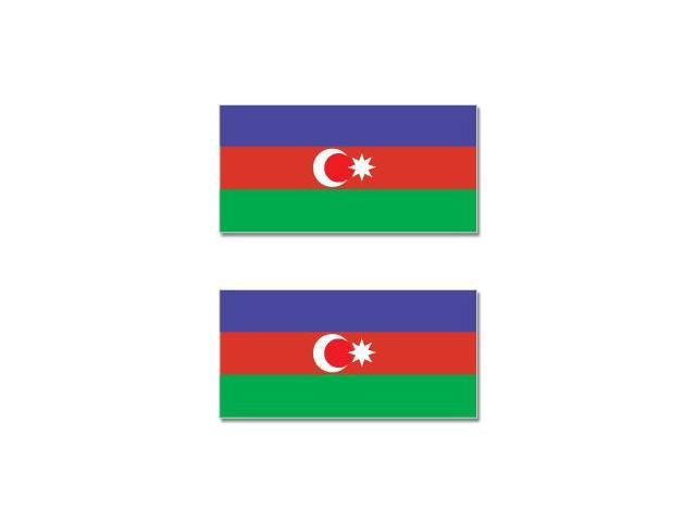 Azerbaijan Republic Country Flag - Sheet of 2 Stickers - 4