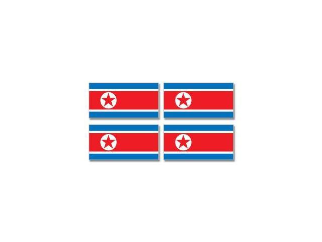 North Korea Korean Country Flag - Sheet of 4 Stickers - 3